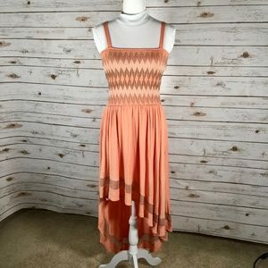 Akiko Sundress smocked chevron coral tan high-low